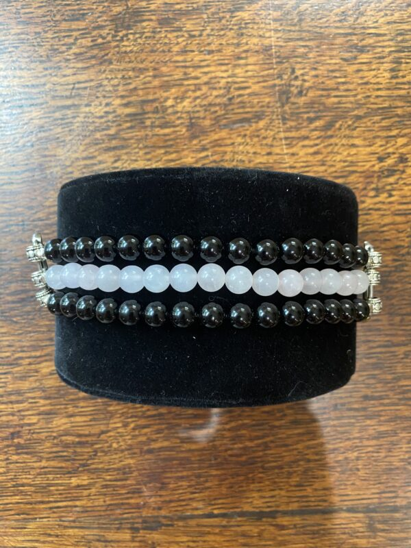 Black Obsidian Rose Quartz Apple Watch Band