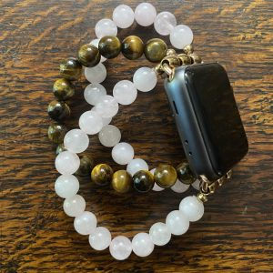 Rose Quartz Tiger's Eye Stainless Steel Beaded Apple Watch Band