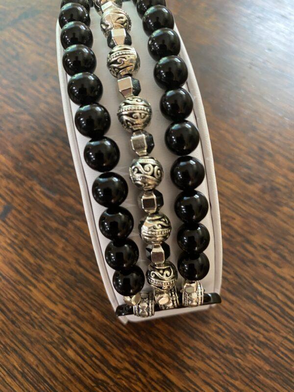 Black Obsidian Tibetan Silver Beads