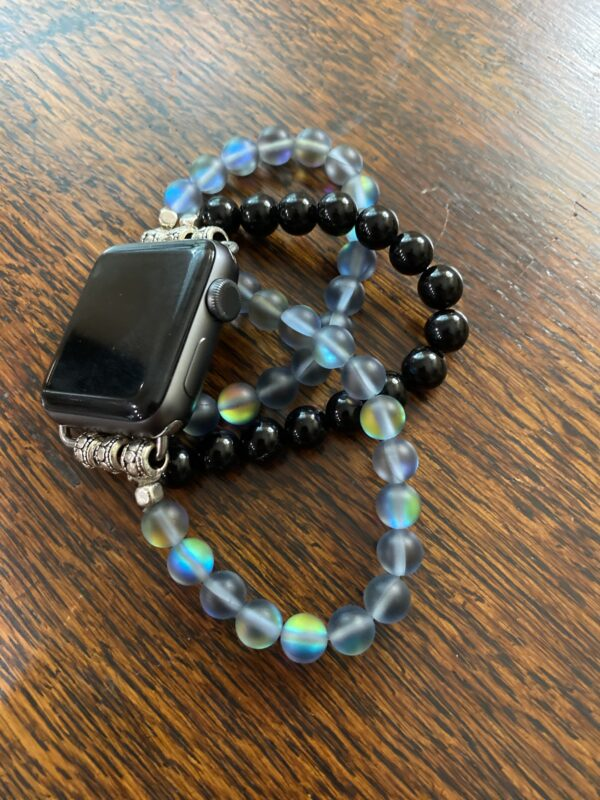 Blue Aura Quartz Crystal and Black Obsidian Beads Apple Watch Band