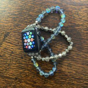 Blue Aura Quartz Crystal Silver Tibetan Beads Apple Watch Band