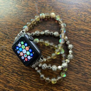 Brown Aura Quartz Crystal Silver Tibetan Beads Apple Watch Band
