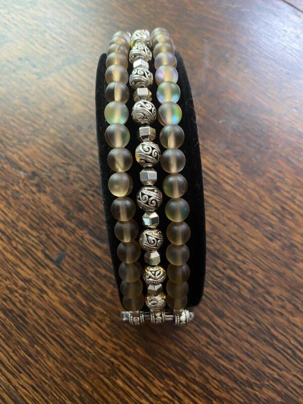 Brown Aura Quartz Crystal Silver Tibetan Beads Apple Watch Band