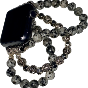 Spotted Marble Silver Tibetan Beaded Apple Watch Band