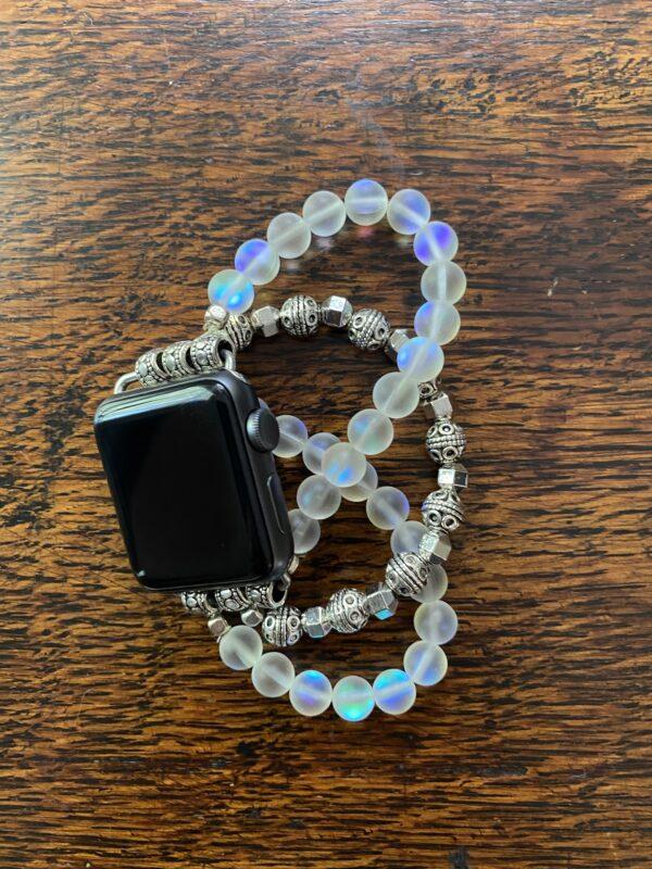 White Aura Silver Tibetan Beads Apple Watch Band
