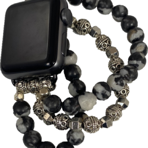 Zebra Jasper Silver Tibetan Beads Apple Watch Band