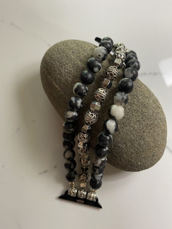 Zebra Jasper Silver Tibetan Beads Apple Watch Band