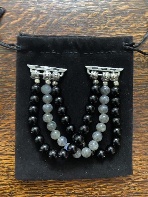 Black Obsidian Labradorite Beaded Apple Watch Band