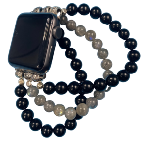 Black Obsidian Labradorite Beaded Apple Watch Band