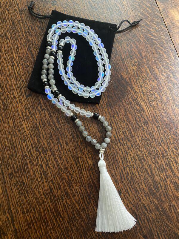 Mala Necklace with Aura Quartz, Black Obsidian, and Labradorite