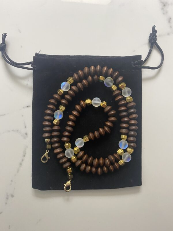 Beautiful and lightweight face mask chain made with wooden beads, Aura Quartz Crystals, and gold-colored metal Tibetan beads