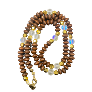 Face mask chain with wood beads and Aura Quartz Crystals