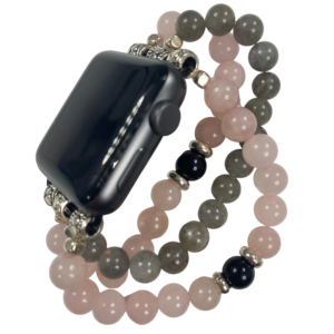 Rose Quartz Labradorite Black Obsidian Beaded Apple Watch Band