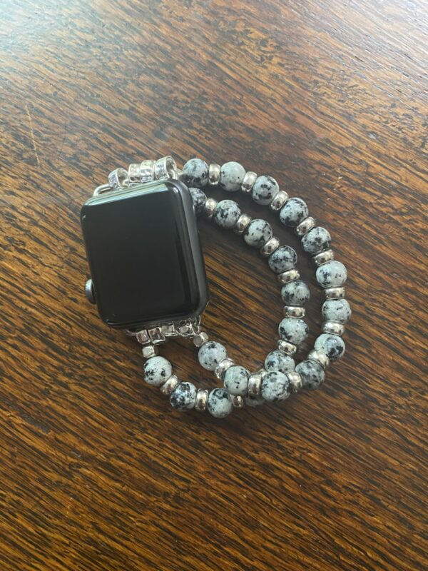 Spotted Marble Silver Beaded Apple Watch Band