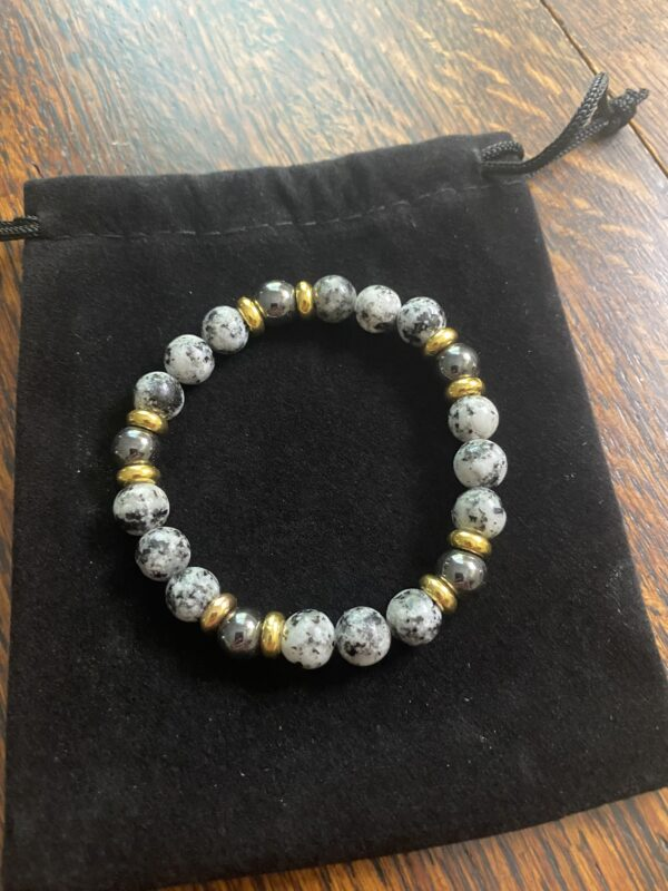 Spotted Marble and Gold Beaded Stretch Bracelet
