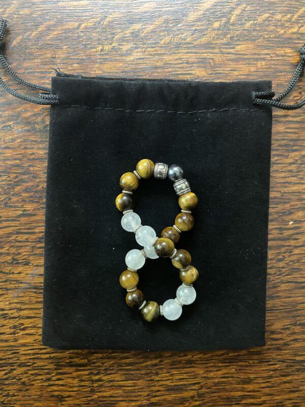 Tiger Eye Rose Quartz Hematite Beaded Stretch Bracelet