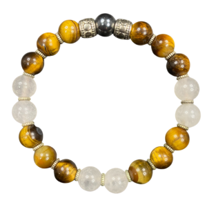 Tiger Eye Rose Quartz Hematite Beaded Stretch Bracelet