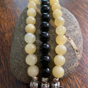 Yellow Onyx Black Obsidian Beaded Apple Watch Band