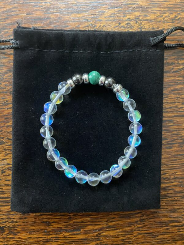 Austrian Crystal Hematite Malachite Beaded Bracelet