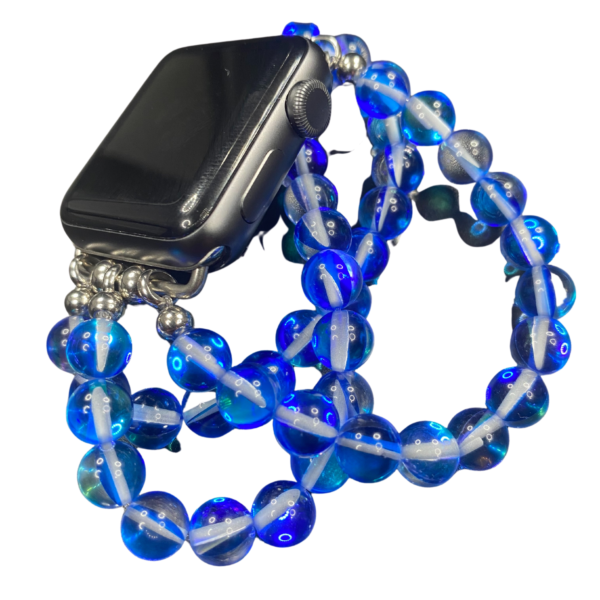 Blue Austrian Crystal Beaded Apple Watch Band