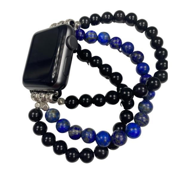 Lapis Lazuli Black Obsidian Apple Watch Band