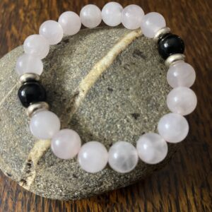 Madagascar Rose Quartz Black Obsidian Beaded Stretch Bracelet