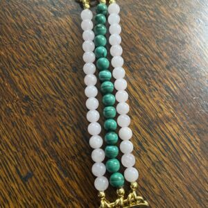 Malachite Madagascar Rose Quartz Beaded Apple Watch Band