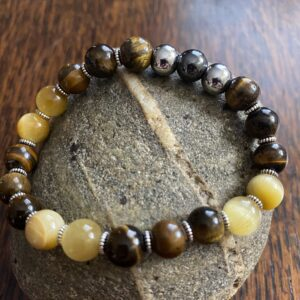 Tiger Eye Hematite Beaded Stretch Bracelet