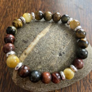 Tiger Eye Stainless Steel Beaded Stretch Bracelet