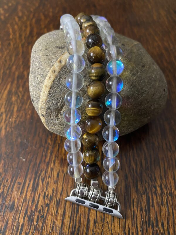 Austrian Crystal Tiger Eye Beaded Apple Watch Band