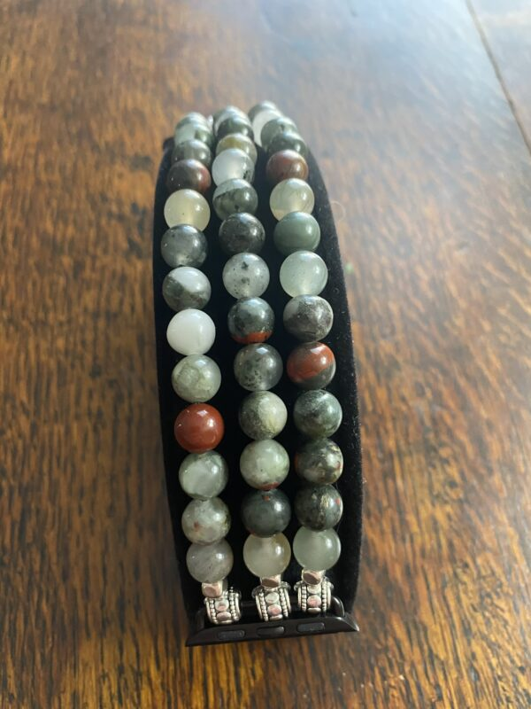 African Blood Stone Beaded Apple Watch Band