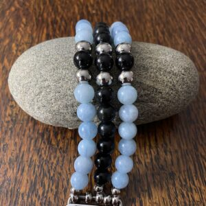 Aquamarine Black Obsidian Beaded Apple Watch Band