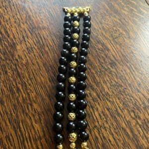 Black Obsidian Tibetan Gold Beaded Apple Watch Band