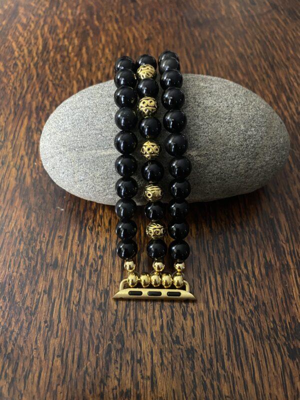 Black Obsidian Tibetan Gold Beaded Apple Watch Band