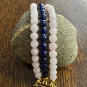 Rose Quartz Lapis Lazuli Beaded Apple Watch Band