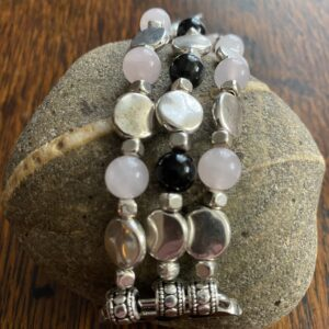 Silver Pink Quartz Black Obsidian Beaded Apple Watch Band
