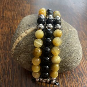 Gold Tiger Eye Black Obsidian Beaded Apple Watch Band