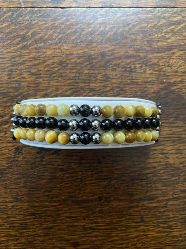 Gold Tiger Eye Black Obsidian Beaded Apple Watch Band