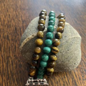Tiger Eye Malachite Beaded Apple Watch Band