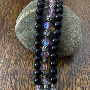 Black Obsidian Austrian Crystal Beaded Apple Watch Band