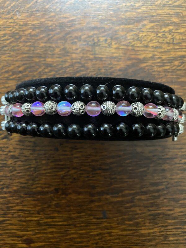 Black Obsidian Austrian Crystal Beaded Apple Watch Band