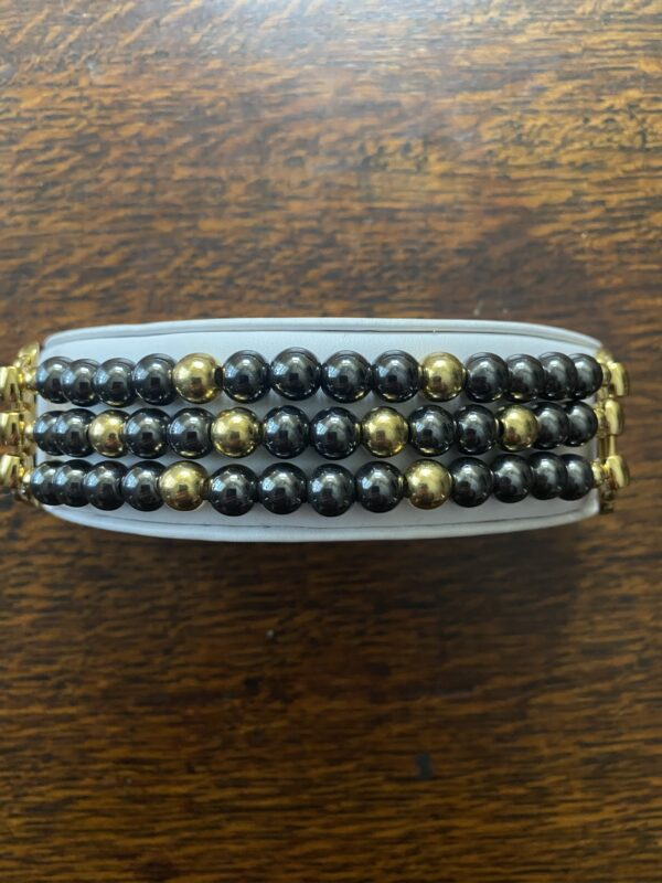 Hematite Gold Platted Stainless Steel Beaded Apple Watch Band