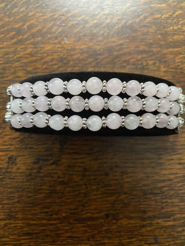 Rose Quartz Silver Daisy Rings Beaded Apple Watch Band