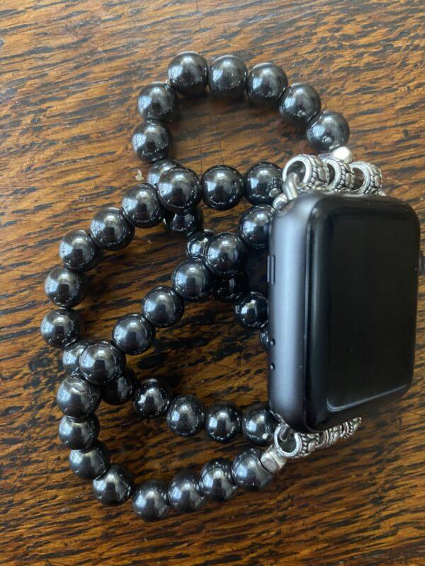 Hematite Beaded Apple Watch Band