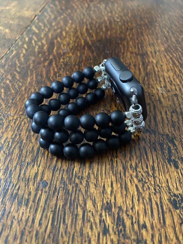 Matte Black Obsidian Beaded Apple Watch Band