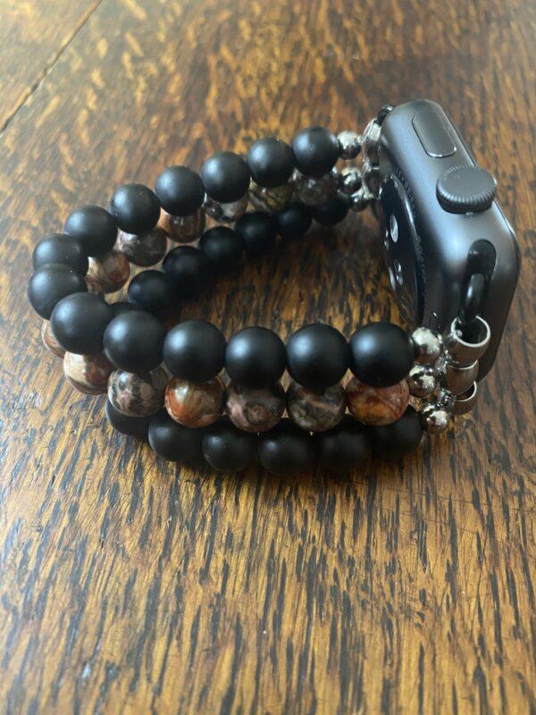Matte Black Obsidian Leopard Skin Jasper Stainless Steel Beaded Apple Watch Band