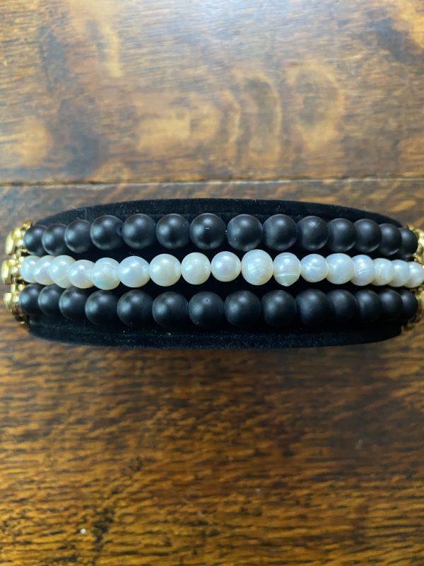 Fresh Water Pearls Matte Black Obsidian Stainless Steel Beaded Apple Watch Band